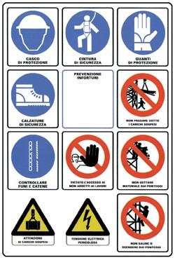 segnali di pericolo e di dicurezza nei cantieri